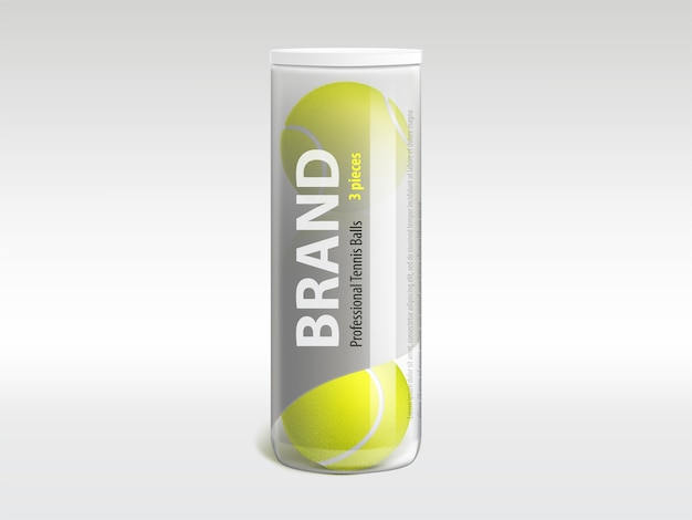 Three tennis balls in branded glossy transparent plastic tube