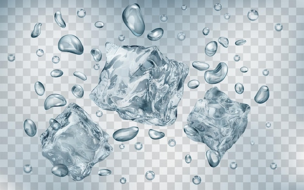Three translucent gray ice cubes and many air bubbles under water on transparent background