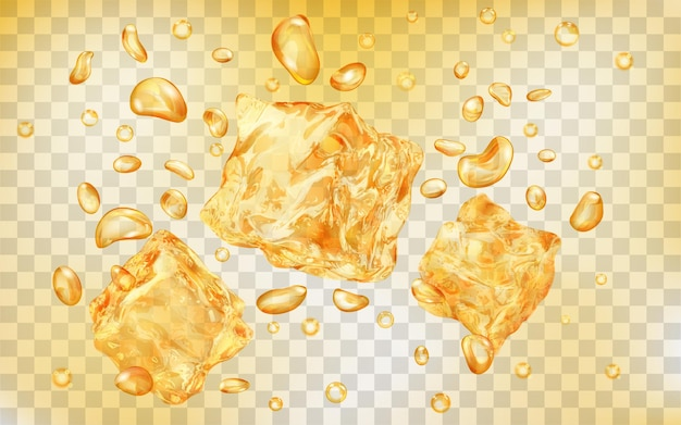 Three translucent yellow ice cubes and many air bubbles under water on transparent background