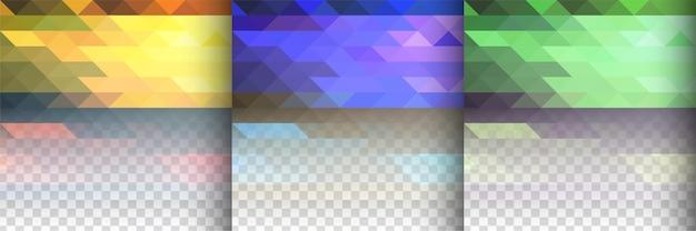 3 개의 투명 삼각형 다각형 디자인 배경 벡터
