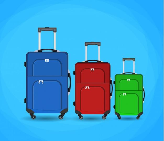 Three travel bag isolated on background.