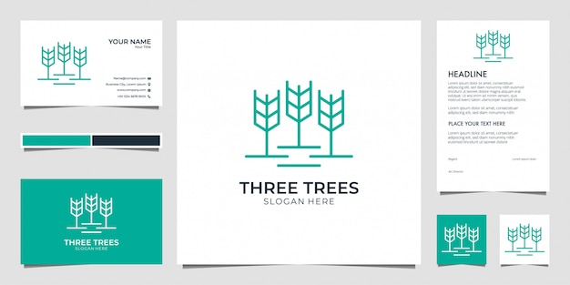 Three trees, leaf, nature with line art logo design  business card and letterhead