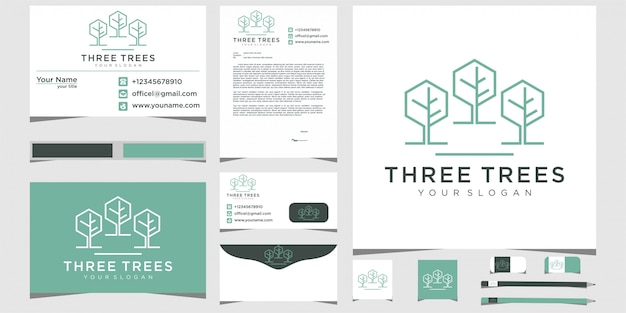 Three trees  leaf  nature with line art logo design and stationery design