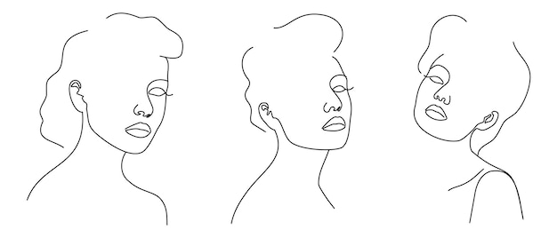 Три модных модных контурных рисования линейных портретов красивых девушек