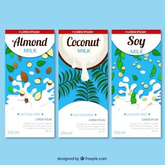 Three types of milk chocolate set