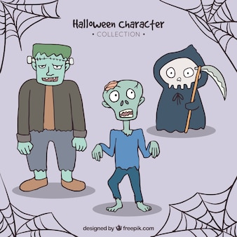 손으로 그린 스타일로 할로윈의 세 가지 전형적인 캐릭터
