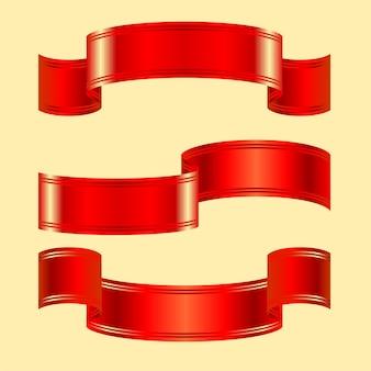2つのストライプのある赤い光沢のあるベルトの3つのバリエーション