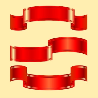 Three variants of red shiny belt with two stripes