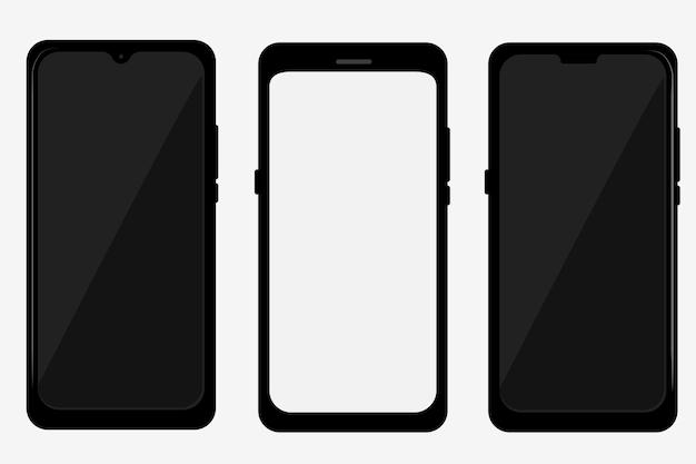 현실적인 평면 컬러 블랙 스마트폰의 3 벡터 다른 모델