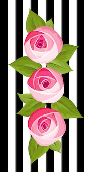 Three vector flower deep pink rose