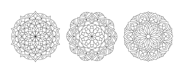 Три вектора мандала набор коллекция раскраски для взрослых круглый узор для медитации