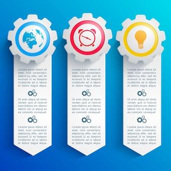 Tre infografiche astratte verticali con icone rotonde colorate di affari piatto isolato