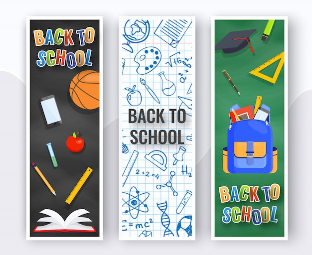 Three vertical back to school banners.