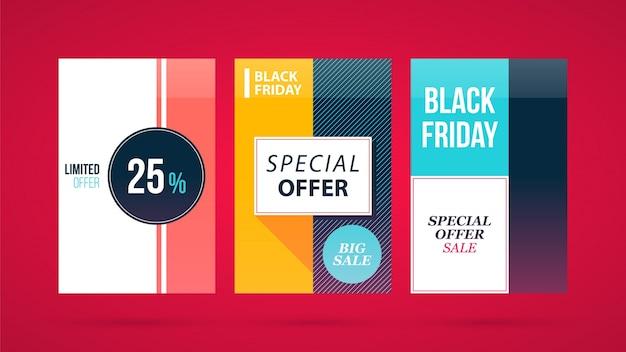 활기찬 빨간색 배경에 현대 평면 스타일에 3 개의 수직 검은 금요일 배너 / 포스터