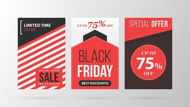 회색 배경에 레트로 검은 색과 빨간색 스타일의 세 세로 검은 금요일 배너 / 포스터