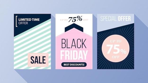 플랫 스타일의 부드러운 색상의 세 가지 세로 검은 금요일 포스터