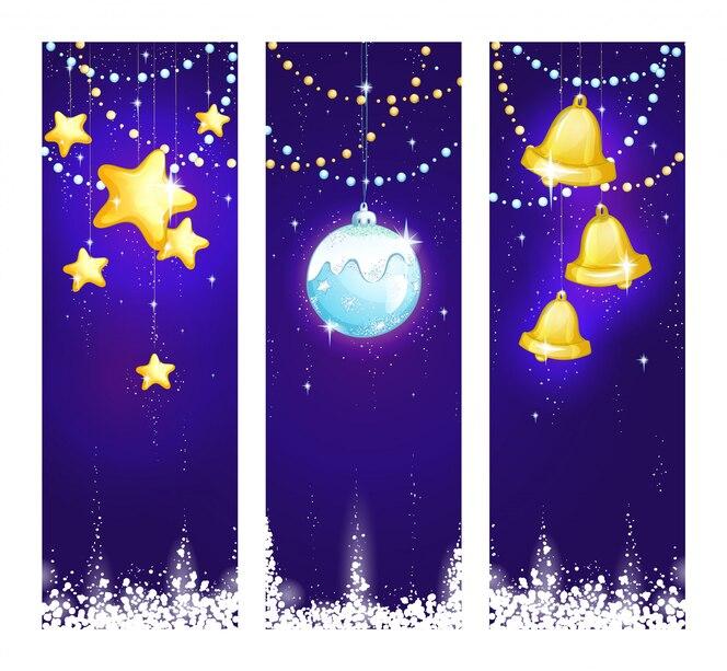 un'illustrazione di natale di tre verticali con le decorazioni luminose di natale