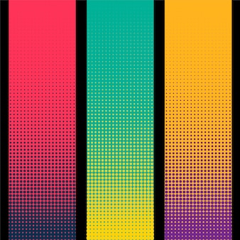 Three vertical halftone banner in different colors