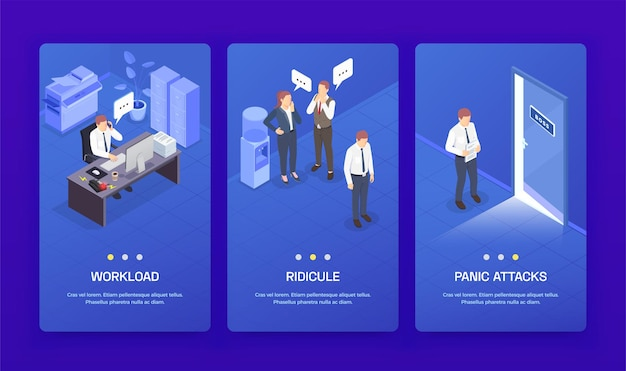 Три вертикальные проблемные ситуации на работе изометрические баннеры с насмешками о рабочей нагрузке и заголовками панических атак