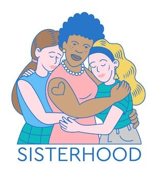 Три очень милые и сильные женщины и девушки, которые обнимают друг друга. сестринская поддержка во всем мире между женщинами-феминистками.