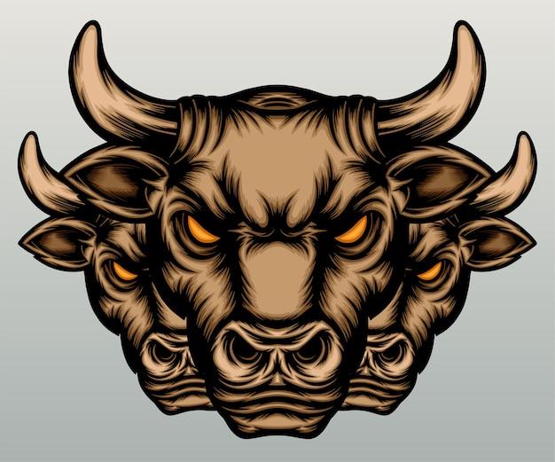 Three vintage bull head in hand drawn