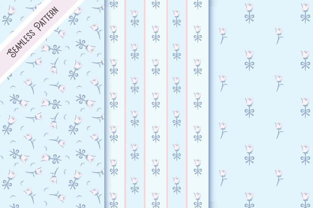 Three vintage floral seamless patterns set