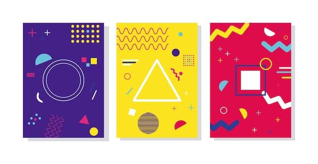 Три ярких фона в стиле мемфис