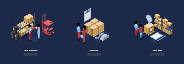 Three warehouse conceptual illustrations in cartoon 3d style.