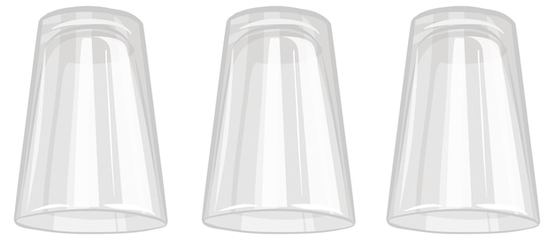 Tre bicchieri d'acqua isolati su sfondo bianco
