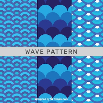 Three wave patterns in blue tones