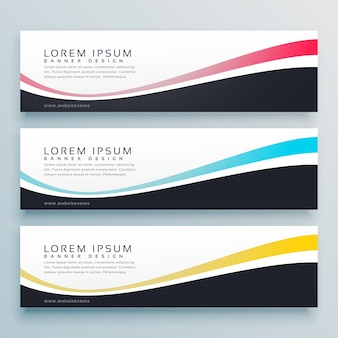 Three wavy banners vector design