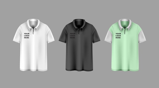 Three white, black and light green collar shirts with logo on them template