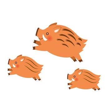 Three wild boars design elements on white background