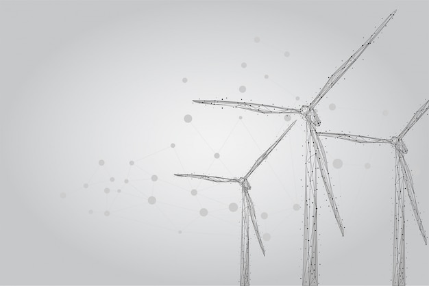 Three wind mills consisting of points, lines, and shapes. wind turbines field. renewable alternative sources of electric energy