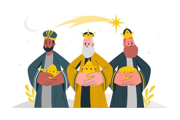 Illustrazione di concetto di tre uomini saggi
