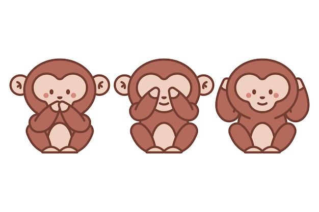 세 현명한 원숭이 벡터 만화 그림 흰색 배경에 고립.