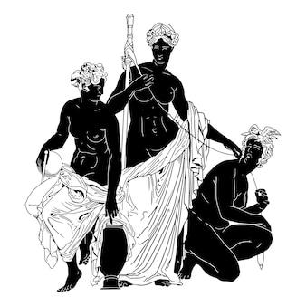 Three woman ancient greek statue hand drawn illustration