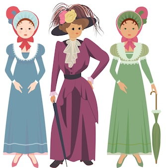 Three woman in vintage dresses and hats.
