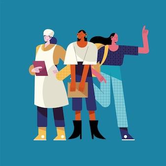 Три женщины разных профессий рабочие персонажи иллюстрации