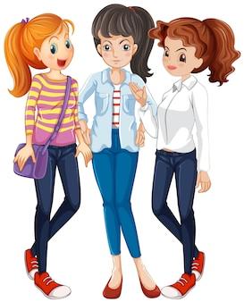 一緒にぶらぶらしている3人の女性