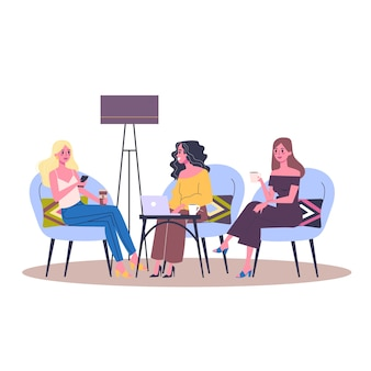 Three women sitting in the cafe. idea of friendship. female character meeting in restaurant.   illustration in  style