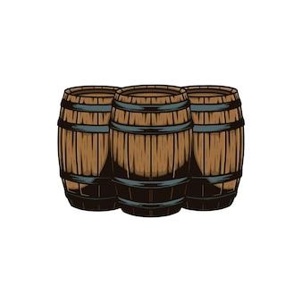 3つの木製の樽のベクトル図