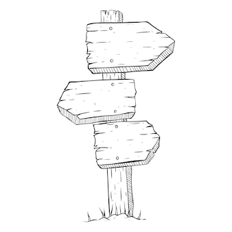 Three wooden billboard with doodle or sketchy style on white background