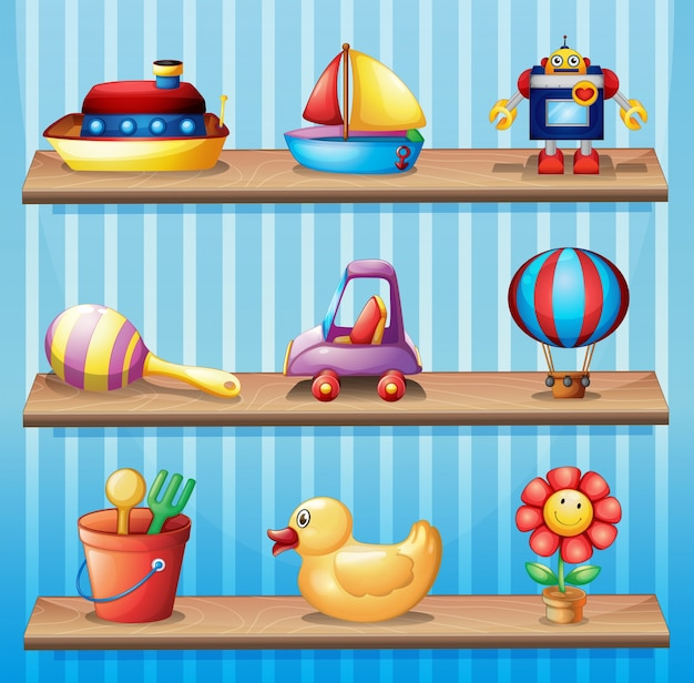 異なるおもちゃを持つ3つの木製棚