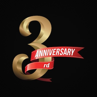 赤いリボンで3周年ゴールデンロゴ祝い