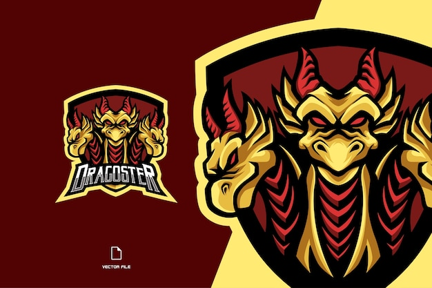 Three yellow dragon head mascot esport game logo character illustration