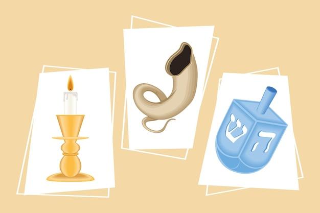 Three yom kippur set icons