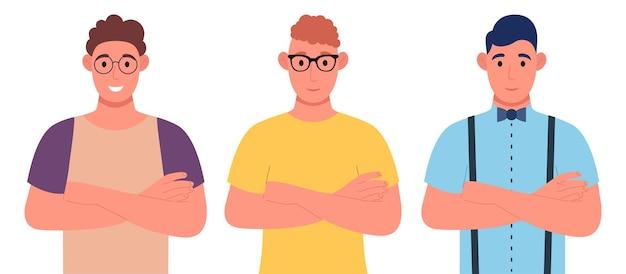 腕を組んでいる国籍の異なる3人の若者。キャラクターセット。漫画のスタイルでベクトルイラスト。