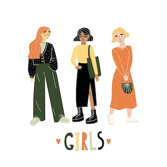 トレンディな服を着た3人の若い女性または女の子が一緒に立っています。友達のグループ。レタリングgirls。手描き。フラットなイラスト。