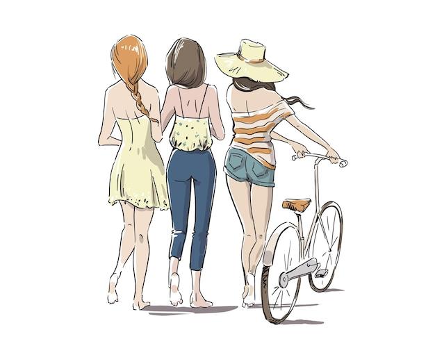 Три молодые женщины, идущие босиком с велосипедом, вид сзади векторные иллюстрации